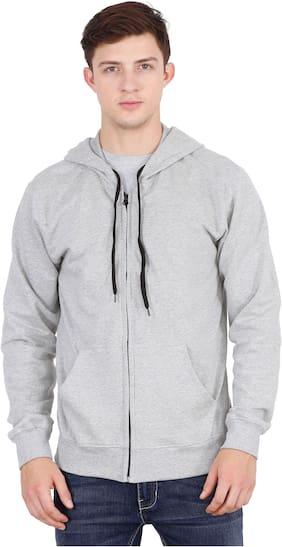Fleximaa Men Grey Hooded Sweatshirt