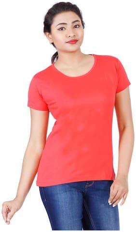 Fleximaa Women's Cotton Round Neck T-shirt Plain Coral Red Color M Size