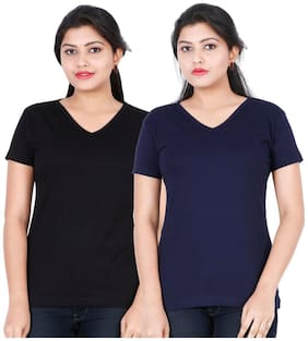Fleximaa Women's Cotton V Neck T-shirt Plain (pack Of 2) - Navy Blue & Black Colors.
