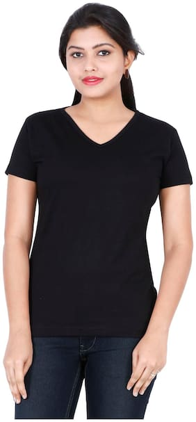 Fleximaa Women's Cotton V Neck T-shirt Plain Black Color S Size