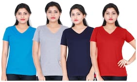 Fleximaa Women's Cotton V Neck T-shirt Plain (pack Of 4) - Red;Blue;Navy Blue & Grey Milange Colors.