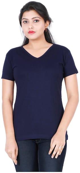 Fleximaa Women's Cotton V Neck T-shirt Plain Navy Blue Color S Size