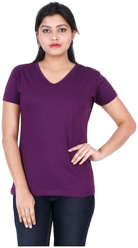 Fleximaa Women Purple Regular fit V neck Cotton T shirt