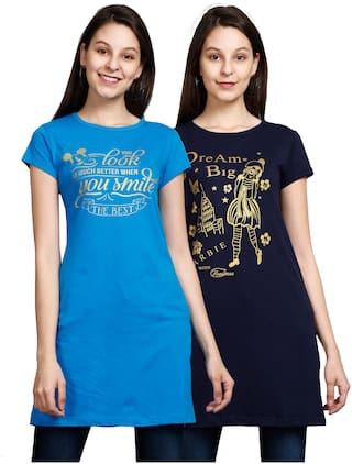 Fleximaa Women's Cotton Round Neck Printed Longline T-Shirt(Blue;Navy Blue)