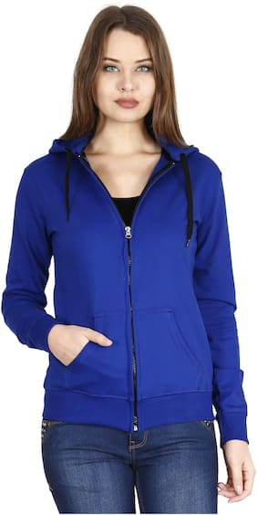 Fleximaa Women Solid Sweatshirt - Blue
