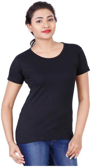 Fleximaa Women's Cotton Round Neck T-shirt Plain Black Color Xl Size