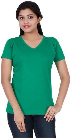 Fleximaa Women's Cotton V Neck T-shirt Plain Pakistan Green Color S Size
