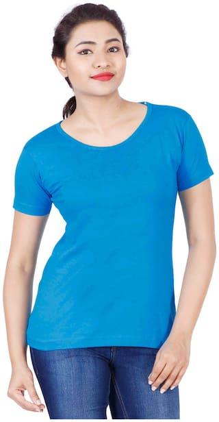 Fleximaa Women's Cotton Round Neck T-shirt Plain Blue Color M Size