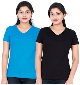 Fleximaa Women's Cotton V Neck T-shirt Plain (pack Of 2) - Black & Blue Colors.
