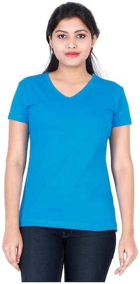 Fleximaa Women's Cotton V Neck T-shirt Plain Blue Color Xxl Size