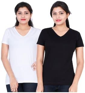 Fleximaa Women's Cotton V Neck T-shirt Plain (pack Of 2) - White & Black Colors.