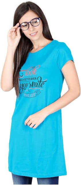 Fleximaa Women Printed Regular top - Blue