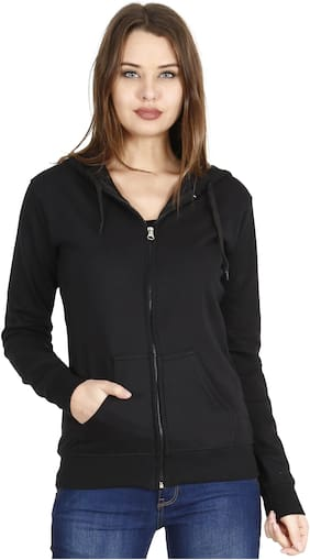 Fleximaa Women Solid Sweatshirt - Black