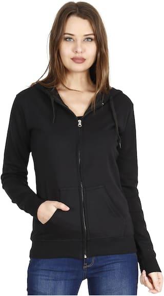 Fleximaa Women Solid Sweatshirt - Black
