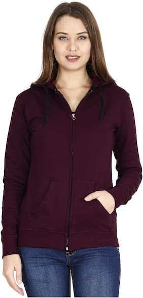 Fleximaa Women Solid Sweatshirt - Maroon