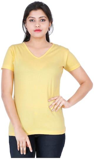 Fleximaa Women's Cotton V Neck T-shirt Plain Yellow Color M Size