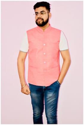 Flip Jeans Men Pink Solid Slim Fit Ethnic Jacket