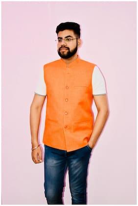 Flip Jeans Men Orange Solid Slim Fit Ethnic Jacket