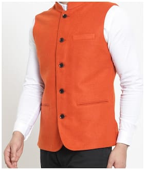 Flip Jeans Men Orange Solid Slim Fit Ethnic Jacket