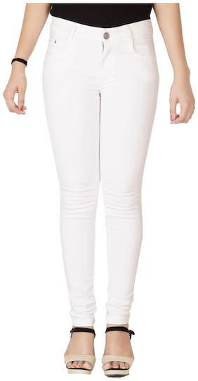 Flirt Nx Women Skinny fit High rise Printed Jeans - White