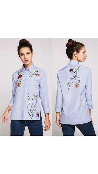 Long Down Floral Button Collar Shirt Embroidery High Low Hem Sleeve qSIxpAIfw