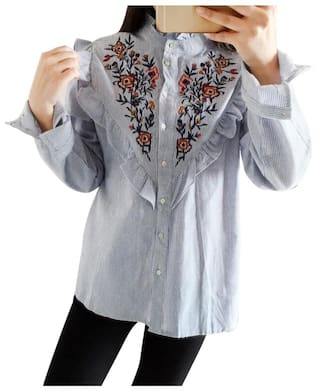 Embroidered Floral Blouse Blouse Embroidered Embroidered Floral Blouse Floral HR41wqnxEn