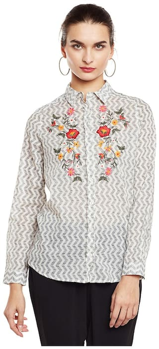 Oxolloxo Women White Embroidered Regular Fit Shirt