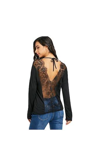 T Floral Lace Drop Back Open shirt Shoulder wXqpUXxr1