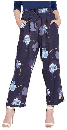 OXOLLOXO Women Regular Fit Mid Rise Printed Pants - Blue