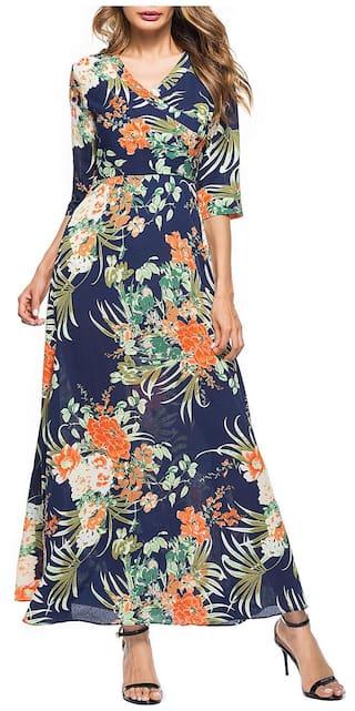 Floral Print V Neck Maxi Dress