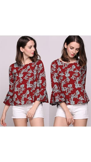 Floral Printed Butterfly Sleeve Crew Neck Loose Pullover Blouse