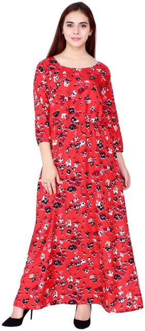 Floral Print Floor Touch Long Dress by BOTH11
