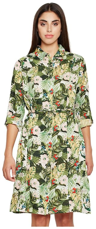 OXOLLOXO Green Printed A-line dress