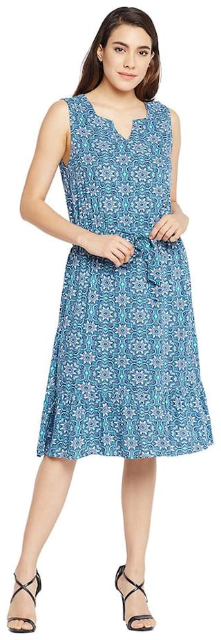 Oxolloxo Blue Printed A-line dress