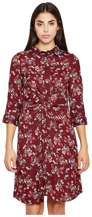 OXOLLOXO Maroon Printed A-line dress