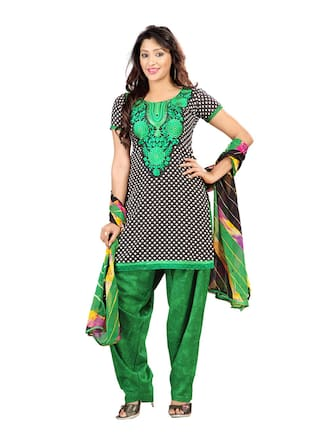 Florence Black And Green Cambric Cotton Suit Dress Material
