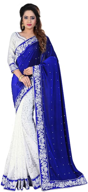 Florence Georgette Universal Embroidered work Saree - Blue , With blouse