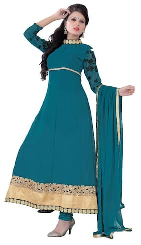 Florence Blue Georgette Semi Stitched Suit