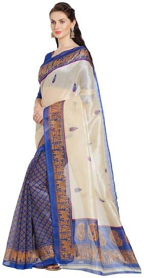 Florence Cream & Blue Bhagalpuri Silk Printed Saree with Blouse