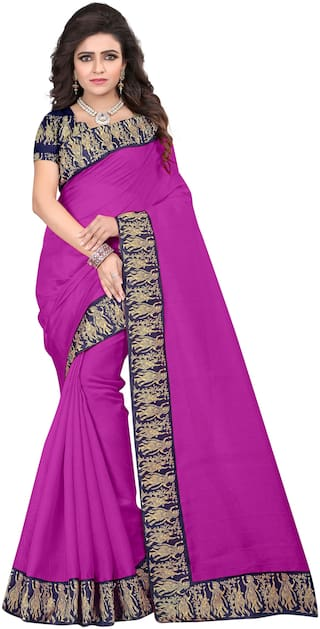 Florence Blended Universal Lace work Saree - Pink , With blouse