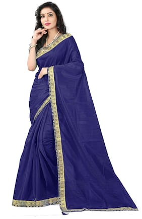 Florence Blended Universal Lace work Saree - Blue , With blouse