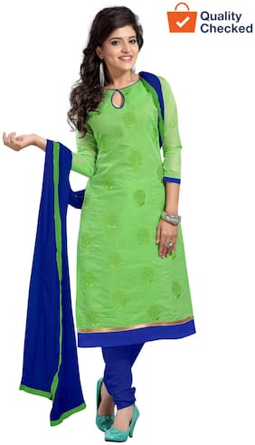 Florence Green chanderi cotton Embroidered unstitched Dress Material