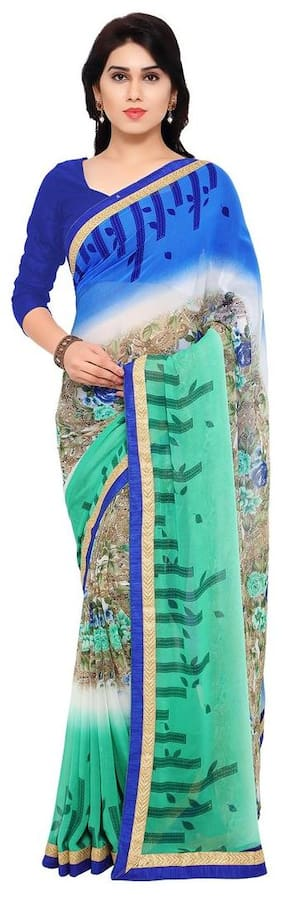 Florence Green & Blue Georgette Embroidered Saree with Blouse