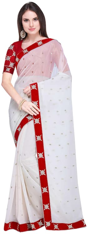 Florence Georgette Universal Embroidered work Saree - White , With blouse