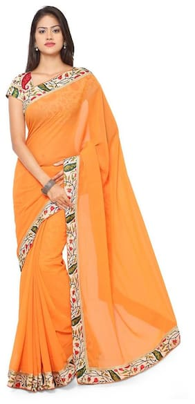 Florence Orange FAUX GEORGETTE Embroidered Saree With Blouse