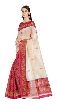 Florence White Bhagalpuri Designer Saree , With blouse