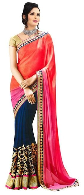 Florence Georgette Universal Embroidered work Saree - Multi , With blouse