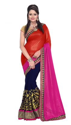 Florence Orange With Pink Georgette Embroidered Saree With Blouse