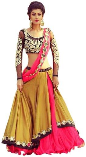 Florence Women's Latest Designer Banglori Silk Stylish Semi-Stitched Lehenga Choli(LG021)