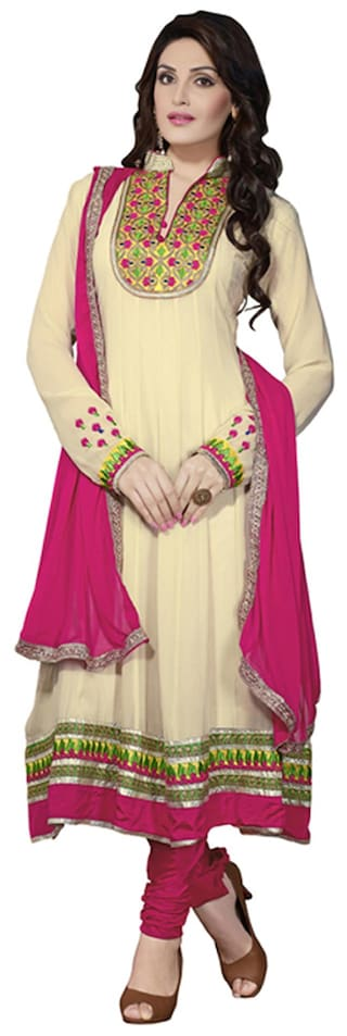 Florence Yellow Georgette Embroidered Suit Dress Material